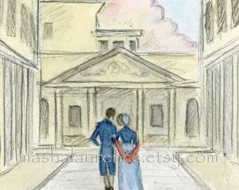 Art Print. Persuasion.  Returning again into the past...Captain Wentworth and Anne Elliot in Bath.