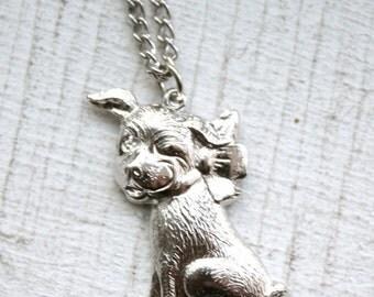 Vintage Silver Adorable Winking Puppy Necklace
