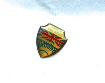 3 Vintage 1960s Enameled Brass British Columbia Crest Charms // Canadian Souvenir