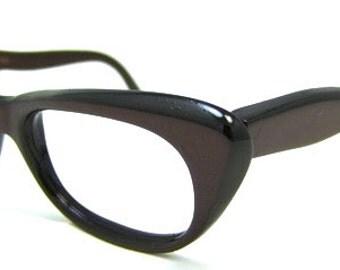 SALE Vintage 1950s Cat Eye Eyeglasses // 50s Frames // Warm Wine Coloured Frames // Italy // Christiane Brand