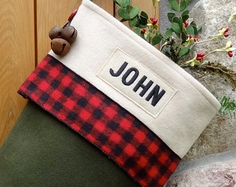 Classic Embroidered Personalized Balsam Green Wool Christmas Stocking