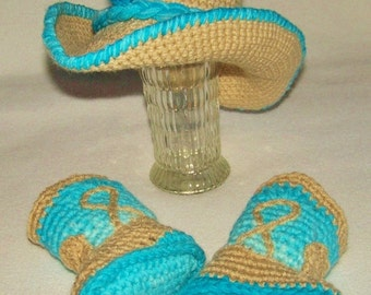 Turquoise Cowboy Outfit - Baby Girl Cowboy Outfit - Baby Cowboy Costume - Cowboy Baby Costume - Cowboy Hat - Cowboy Baby Booties - Cowboy