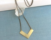 Gold raw brass chevron arrow long necklace, geometric jewelry, minimalist jewelry