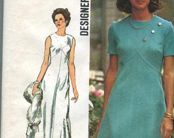 """Simplicity 5911 Vintage 70s Dress or Gown Pattern - 36"""" bust"""