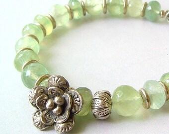 Statement Bracelet, Prehnite Bracelet, Green Bracelet, Spring Fashion, Hill Tribe Silver, Fine Gemstone Bracelet, AAA Micro Faceted Rondelle