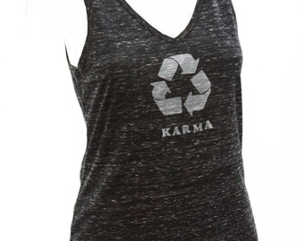 Karma| Soft Lightweight V-neck tank top| What goes around comes around| art by Matley| Gift for her| recycle symbol| zen.