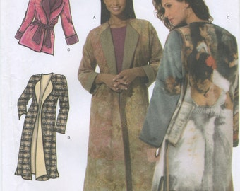 Long Lined Coat or Belted Jacket Sewing Pattern, Plus Size M, L, XL Simplicity 4657, UNCUT
