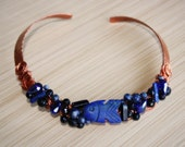 Lapis, Sodalite, and Blue Goldstone Copper Neck Collar