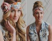 Lavender and Orange Pattern Vintage Head Wrap