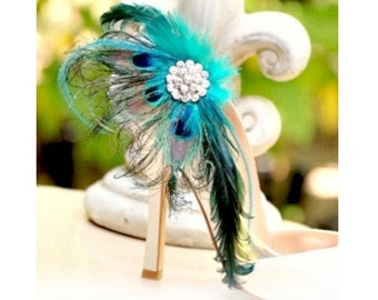 Shoe Clips Peacock Fan & Iridescent Teal. Couture Bride Bridal Bridesmaid MOH Gift, Feminine Wedding 2015 Statement Luxury Engagement Party