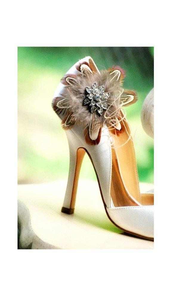 Autumn Feather Shoe Clips Statement Rhinestone Crystals, Bridal Bride Bridesmaid Wedding Fashion, Elegant Stylish, Sand Bronze Copper Golden