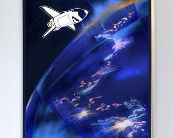 Space Shuttle Orbit Poster, Illustration, Art Print, NASA , Fine Art Print, Science Wall Art