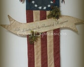 Primitive Americana Flag with Banner ~ MADE TO ORDER