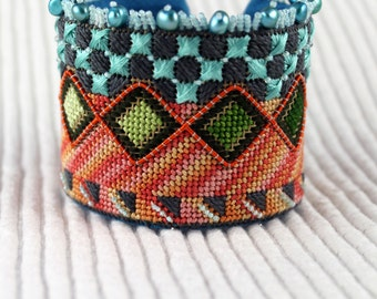 Needlepoint Bracelet, Ultrasuede Cuff Kit, Do It Yourself Cuff, DIY Bracelet, DIY Wristband, Wristband Kit, Embroidery Kit, The OCEAN Cuff