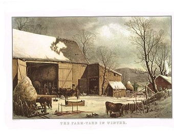 antique winter farm yard in winter lithograph illustration DIGITAL DOWNLOAD