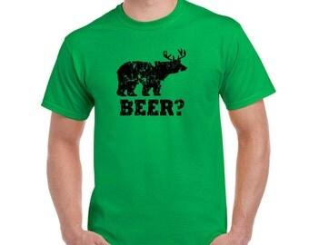 beer redneck t shirt bear deer funny beer t shirt hunter shirt light blue