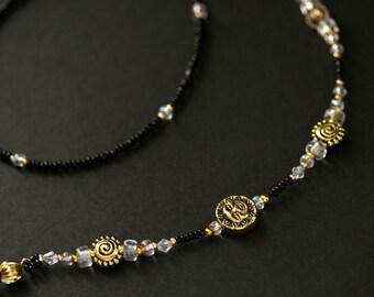 Eyeglass Holder. Celestial Eyeglass Chain. Teacher Lanyard. Gold Glasses Necklace. Black Badge Lanyard Sun and Moon Lanyard Handmade Lanyard