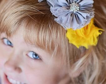 Yellow hard headband, grey hard headband, girl headband, wedding flower headband, flower girl accessories, birthday gift, toddler headband