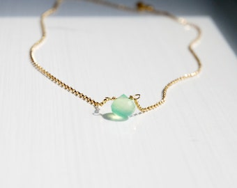 Green gem necklace, mint green chrysophase gemstone pendant, gold or sterling silver chain, tiny onion briolette, colorful jewelry - Wendy