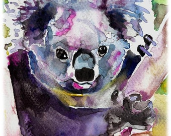 POSTER SIZED Koala (Soft Version) Watercolor Painting Print, Artist-Signed