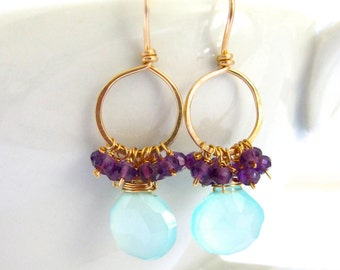 Seafoam Chalcedony Earrings, Purple Amethyst Gold Hoops Wire Wrapped Jewelry by Sonja Blume
