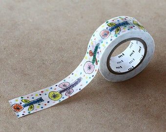 Flower White, Mina Perhonen - Japanese mt Washi Paprt Masking Tape - Collage, Scrapbooking, Gift Wrapping - Kawaii Colorful Tape, Art Supply