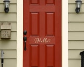 Hello Decal - Front Door Decal - Script Decal - Front Door Welcome Decor