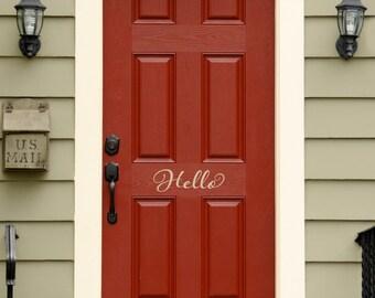 Hello Decal - Front Door Decal - Script Decal - Front Door Welcome Decor