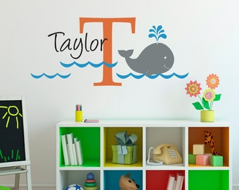 Whale Wall Decal with Initial & Name - Custom Unisex Wall Decal - Whale Wall Art - Medium