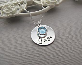 Baby Name Necklace, Custom Birthstone, Birthdate, Hand Stamped Jewelry, March Birthday, Aquamarine Birthstone