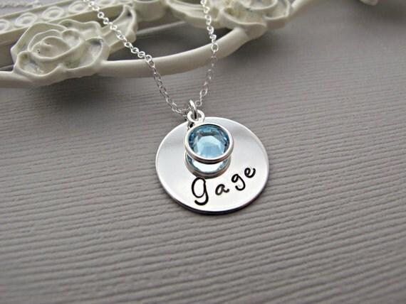 baby name necklace custom birthstone birthdate by