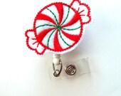 Peppermint Candy - Retractable ID Felt Badge Holder - Holiday Badge Reel - Nurses Badge Holder - Nurse Badge - Teacher Badge