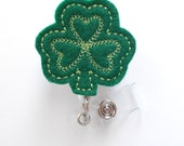 Green Clover Shamrock  - St Patricks Day Badge  - Name Badge Holder - Cute Badge Reel - Nursing Badge - Felt Badge Reel - Holiday Badge Reel
