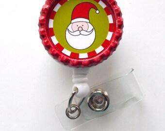 Santa Claus II  - Nursing Badge Holder - ER Nurse Badge Reel  - ER Name Badge - Nurses Badge - Cute Badge Reel