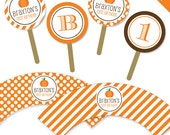Pumpkin Party - Personalized DIY printable cupcake wrapper and topper set