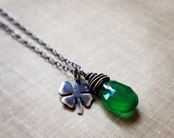 On Backorder - Shamrock Necklace, Green Onyx Gemstone Clover Charm Necklace, Lucky Charm Necklace, Oxidized Sterling Silver