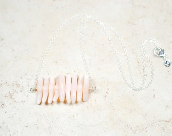 Modern Blush Necklace, Pale Apricot Stick Beads, Simple and Minimal Pale Pink Blush Jewelry