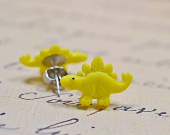 Bright Yellow Dinosaur Earrings, Stegosaurus Studs, Cute Dino Posts on Stainless Steel, Sensitive Ears Jewelry, Lemon Yellow