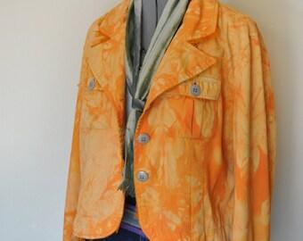 Orange Medium Cotton Jacket - Yellow Orange Hand Dyed Upcycled Allan Denis Cotton Blazer Jacket - Adult Womens Size Medium (46 chest)