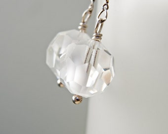 Vintage Swarovski Faceted 12mm Snowflake Beads as Dangle Earrings, 1960's Style, Clear, White and Silver, Swinging '60's, Go Go Earrings