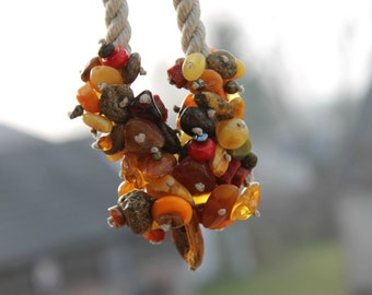 Raw Orange Coral Baltic Amber Sailor Rope Necklace Red Yellow Brown Honey Black OOAK Nautical Jasper  Summer Fashion