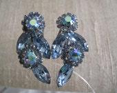 Blue Rhinestone Weiss Vintage Earrings Estate Jewelry Wedding Jewelry
