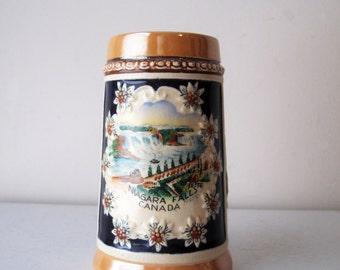Niagara Falls Canada Beer Stein, Vintage Beer Stein, German Beer Stein, Vintage Souvenir Stein, Man Cave Stein, SALE