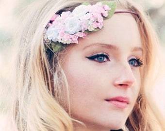 pink wedding headband, woodland wedding, spring wedding, bridal hair crown, pastel flower crown