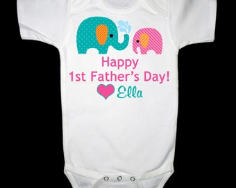 Personalized Happy First Father's Day Elephants Bodysuit or Shirt  - Personalized with ANY name