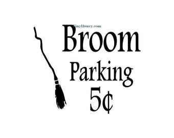 Broom Parking Halloween Decal - Wall Decal - Vinyl Wall Decal, Wall Decor, Signage, Window Decal, Front Door Decal, Witch Decal