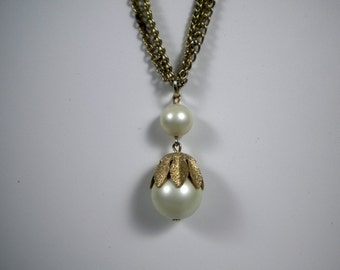 Vintage Gold Triple Strand Necklace with Pearl Pendant