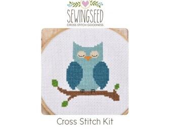 Sleeping Owl Cross Stitch Kit, DIY Kit, Embroidery Kit, DIY Nursery Decor