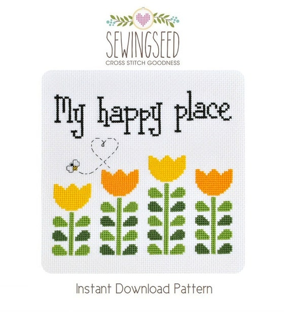 My Happy Place Garden Cross Stitch Pattern Instant Download
