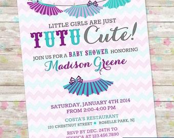Tutu Cute Baby Shower, Baby Girls are Tutu Cute, Tutu Themed Baby Shower, Tutu Cute, Printable Invitation, Printable Invite, Purple and Aqua